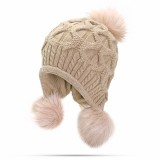 Womens Winter Warm Crochet Knitted Wool Beanie Hat Pompom Ball Ski Cap