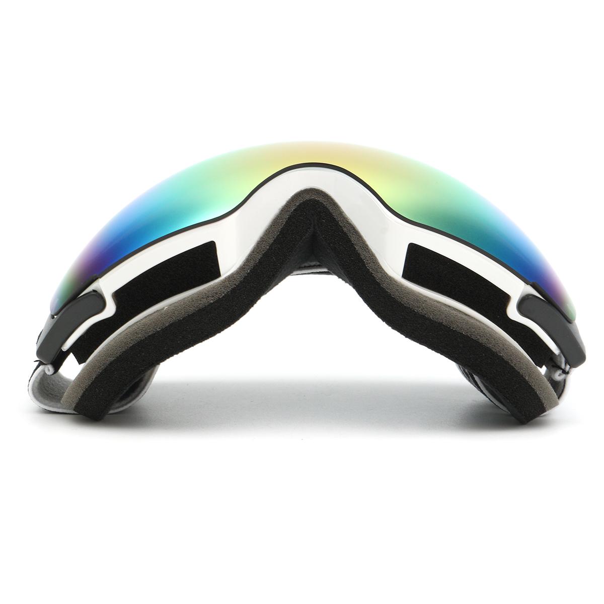 Double Lens Snowboard Ski Goggles Magnet UV Protection Anti Fog White Frame
