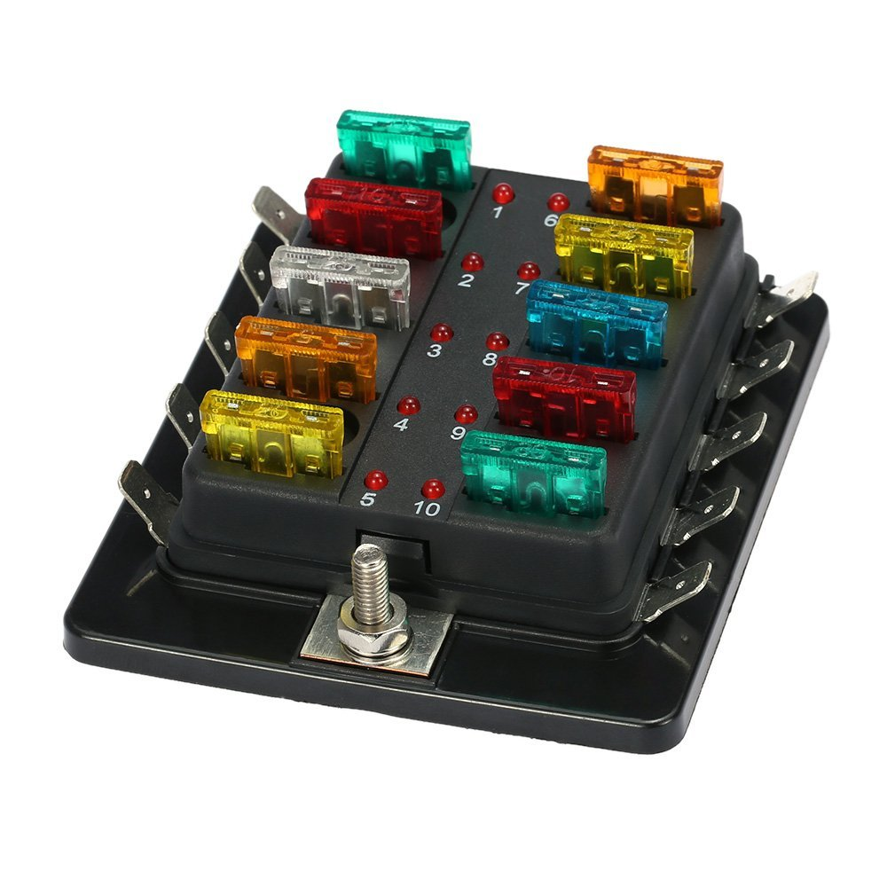 10 Way Blade Fuse Holder Box 32v Led Illuminated Automotive Fuse Block