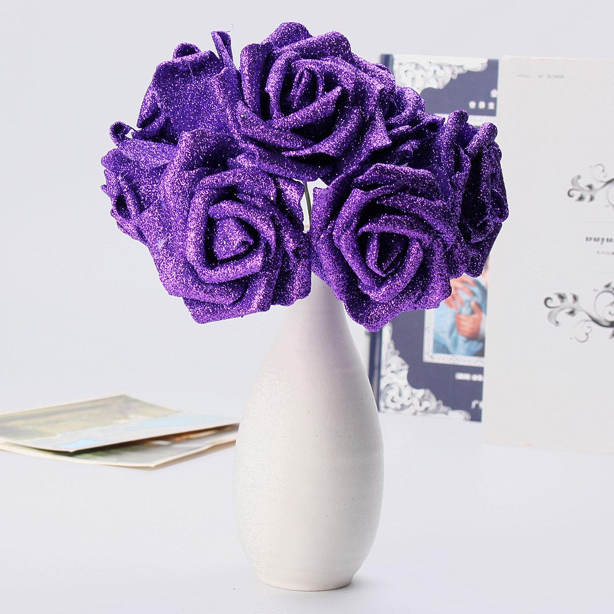 7Pcs Artificial Bouquet Glitter Foam Artificial Flowers Wedding Bridal Party Decor DIY Rose