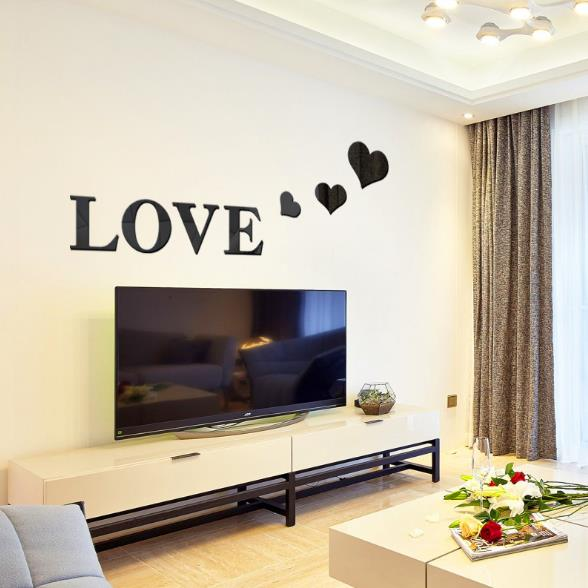 3d multi color love silver diy shape mirror wall stickers for Silver bedroom wall art