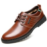 Men Casual Business Soft Comfy Warm Genuine Leather Lace Up Oxfords Shoes