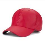 Men Grain PU Leather Solid Baseball Cap Casual Outdoor Sports Sun Hats Adjustable Hats