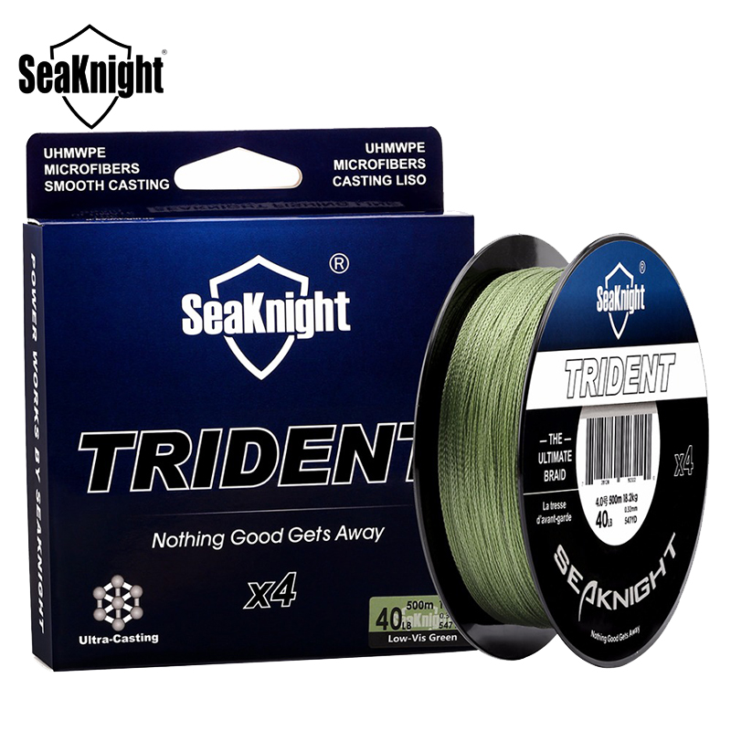 SeaKnigt TRIDENT 500M 15-60LB 4 Strands PE Braided Fishing Line Super Strong Fishing Rod Wire