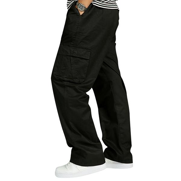 Mens Multi Pocket Casual Pants Cotton Overalls Pants Plus Size Cargo Pants