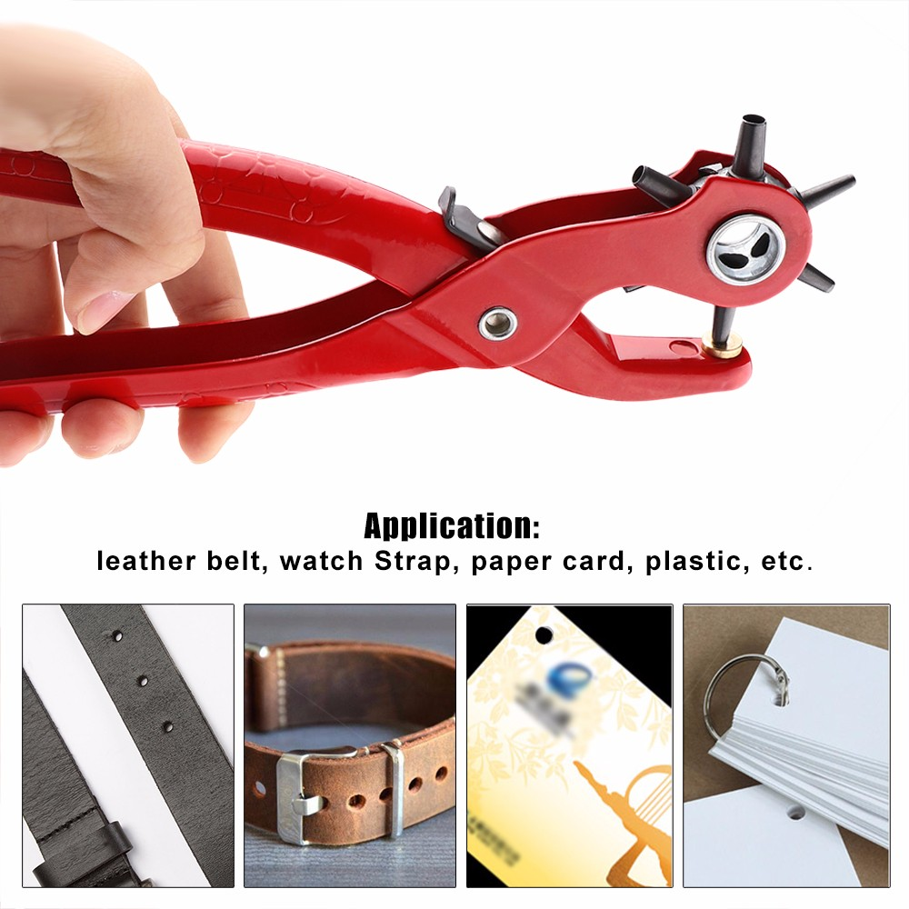Honana WX-B1 9'' Sewing Leather Belt Hole Puncher Tools Pliers Hook Clamp 2/2.5/3/3.5/4/4.5MM Punch Size For Punching Hole Forceps Punch Head