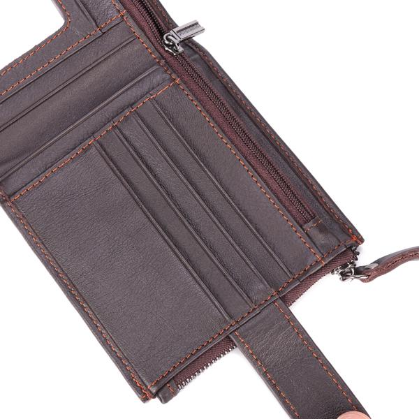 Men Genuine Leather Short Wallet Vintage Card Holder Zipper Credit Card Wallet with 12 Card Slots