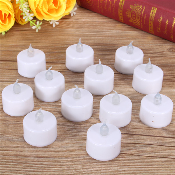 more detailed photos 12 pcs battery operated led flameless candles tea light party wedding christmas decor - Christmas Decorations Battery Operated Candles