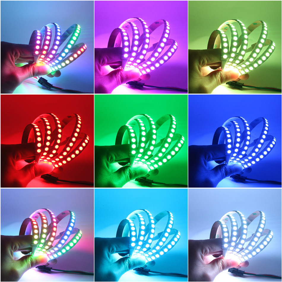 1M WS2812B Full Color Non-waterproof 144LEDs RGB Strip Light with 17 Keys Remote Control DC5V