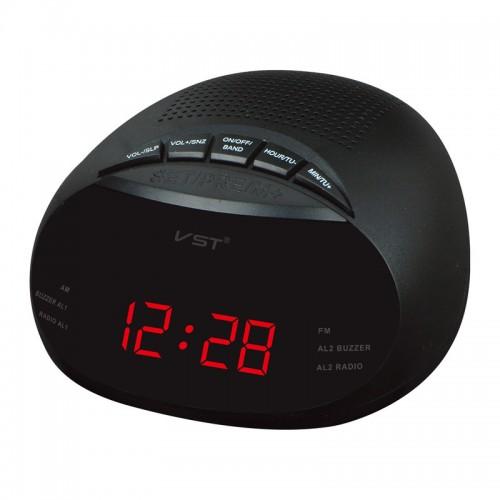 EU Led Digital Radio Alarm Clock With Blue Red Green Backlight Two Groups Alarm Clock AM FM Clock Radio Table Clock Radio