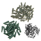 90pcs Carp Fishing Tackle Safety Lead Clip + Quick Change Swivels + Tail Rubbers Set