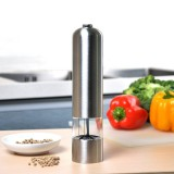 MIUK Electric Salt and Pepper Grinder Pepper Shaker Mill Kitchen Adjustable Stainless Steel Battery Powered Spice Muller with Clear Acrylic Window Ceramic Grinder Core Automatic Led Light