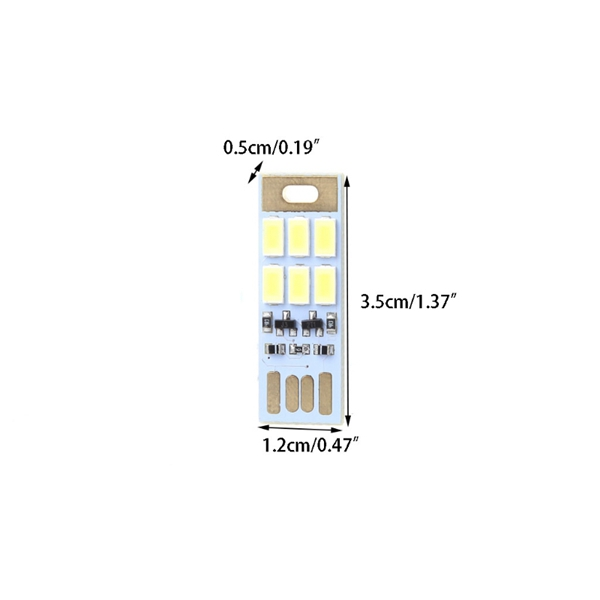 Mini 1W USB 6 LED Touch Stepless Dimming / Light-controlled Night Card Light for Power Bank Computer