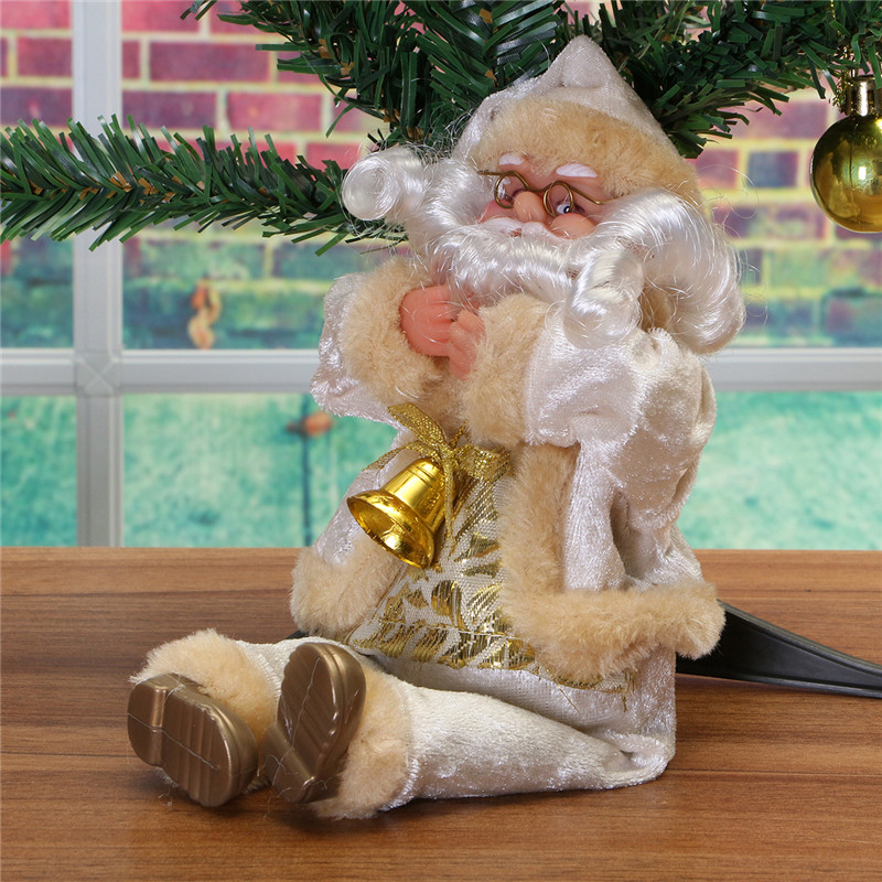 Christmas Party Home Decoration 27CM Flannel Sitting Santa Claus Ornaments Toys For kids Gift