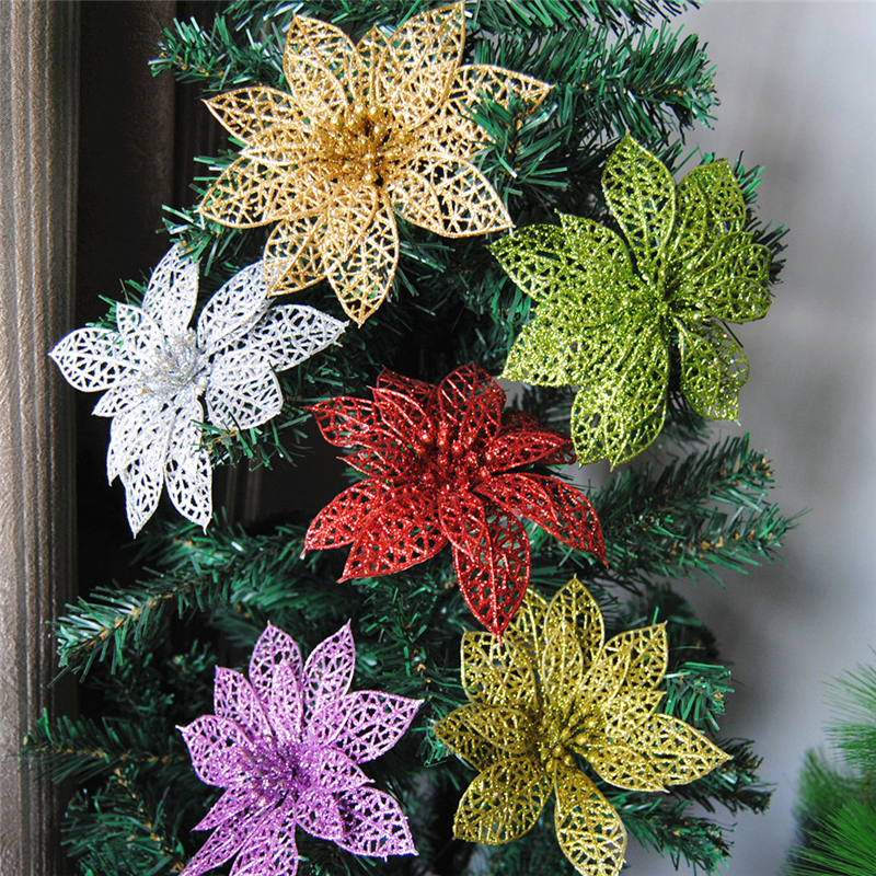 10pcs Christmas Glitter Hollow Flower Decoration Flowers: new flower decoration