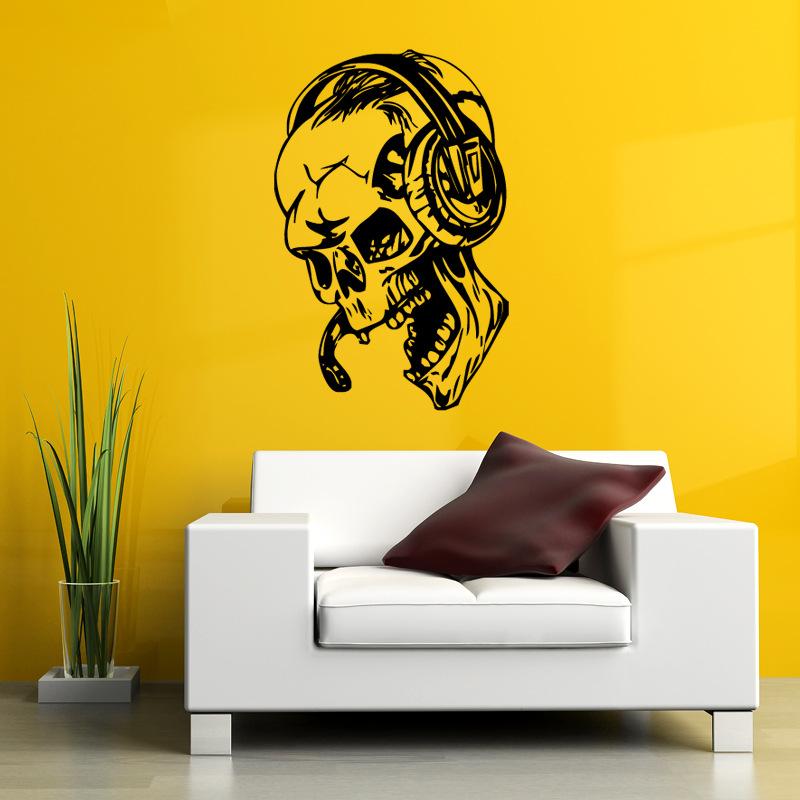 Hallowen Skull Head Showcase Glass Window Decor Wall Sticker Party ...