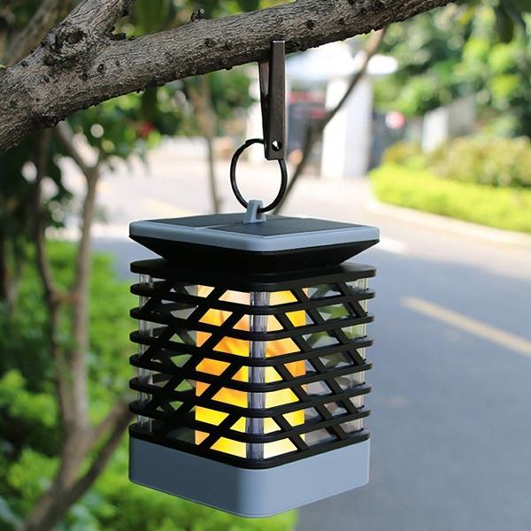 Outdoor Hanging Tree Lights: Solar Powered 75 LED Flame Effect Hanging Lantern Light