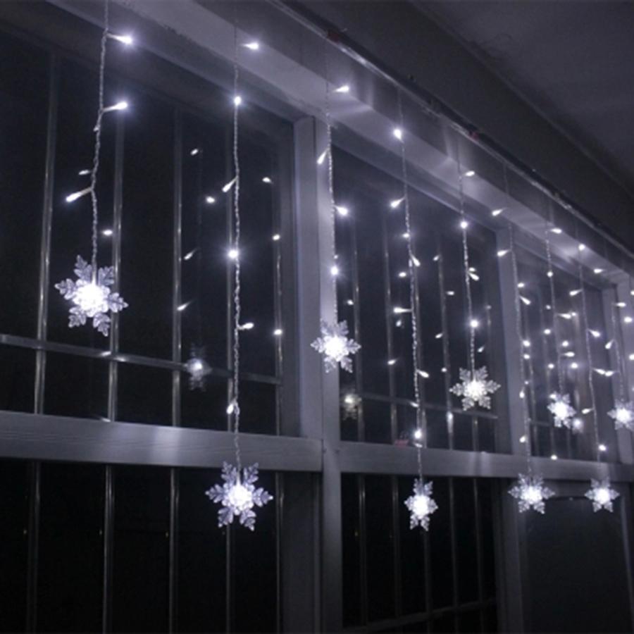 3.8M LED Curtain Snowflake String Lights LED Fairy Lights 8 Modes Christmas Lights Wedding Party Decoration 220-240V