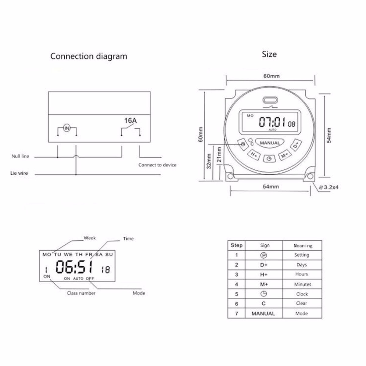 Excellway L701 12v 110v 220v Lcd Digital Programmable Control Power Relay Wiring Diagram Switched Time Switch