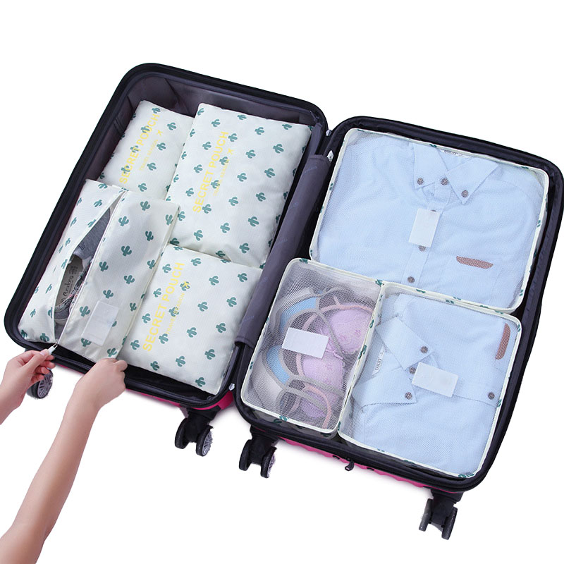 KCASA 7Pcs Travel Storage Bags Set Portable Tidy Suitcase Organizer Clothes  Packing Home Closet Divider Container