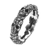 Trendy 316L Stainless Steel Finger Ring Skull Head Ring Wholesale for Men Halloween Jewelry