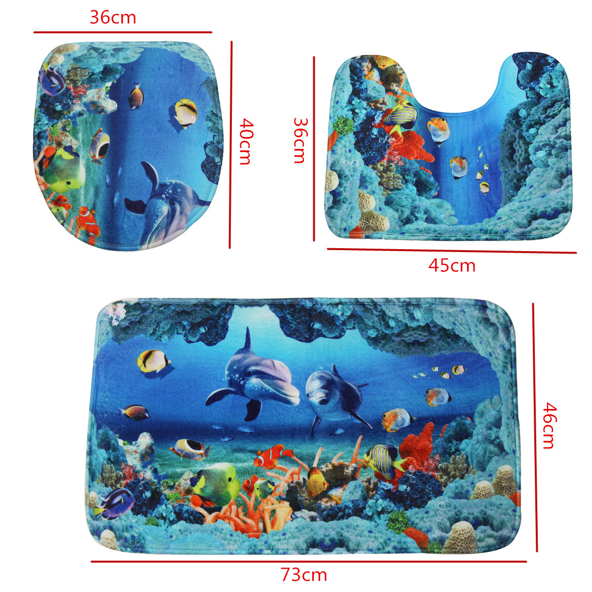 Good Detail Pictures: More Detailed Photos: An Ocean Dolphin Bathroom Carpet Set  ...