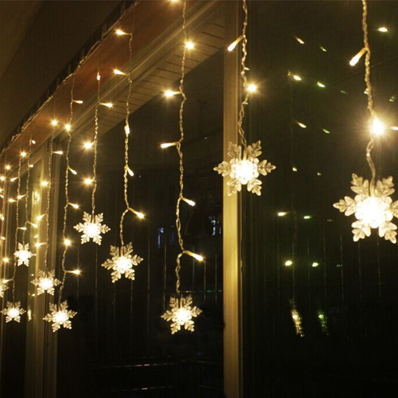 38m led curtain snowflake string lights led fairy lights 8 modes christmas lights wedding party