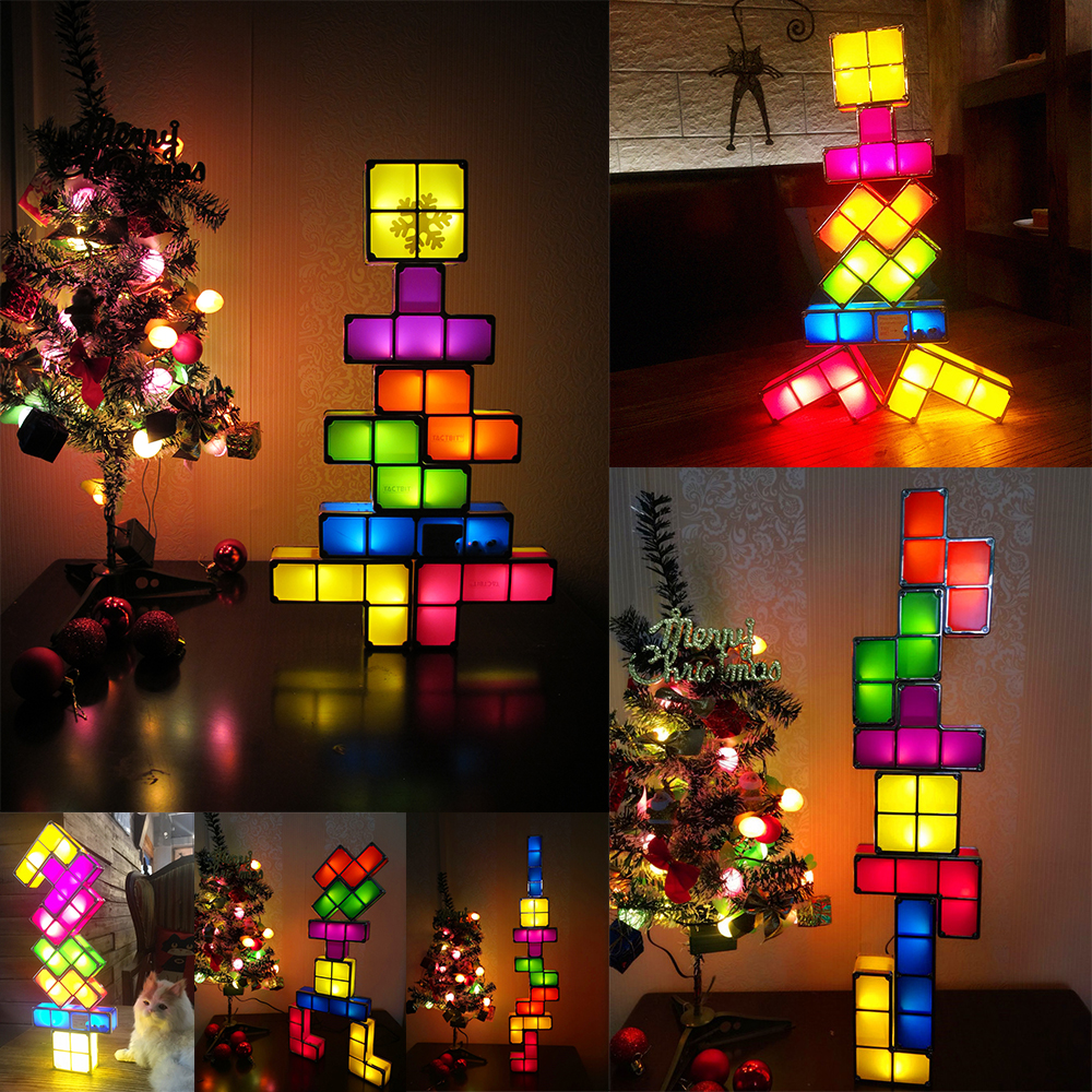 DIY Tetris Puzzle Novelty LED Night Light Stackable LED Desk Table ...