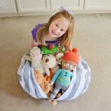 Honana Large Capacity Stuffed Animal Storage Bean Bag Canvas Chair Hammock Home Organizer for Kids' Plush Toys Clothes