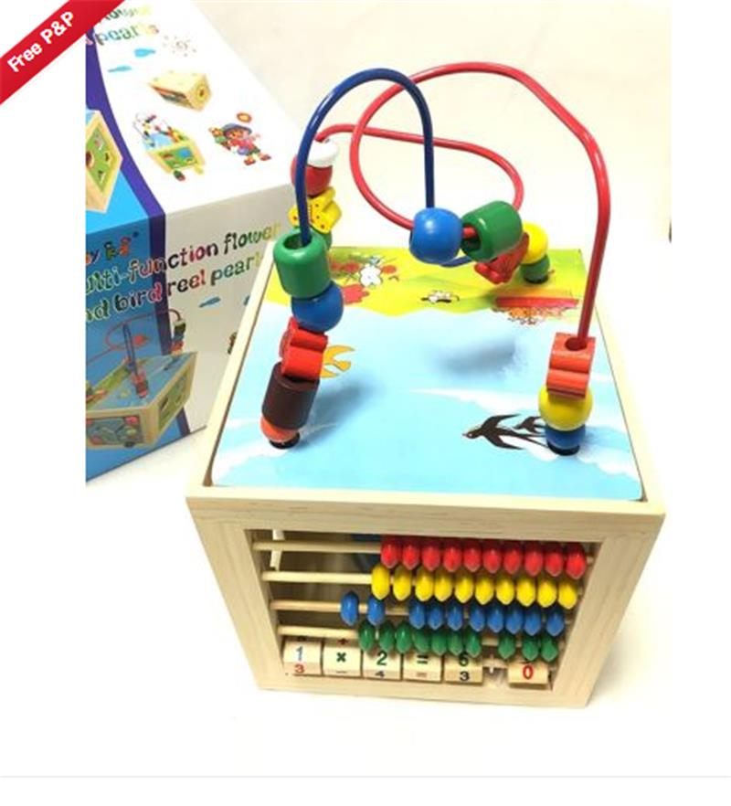 5 in 1 Kids Multi Function Colourful Wooden Activity Cube Toys ...