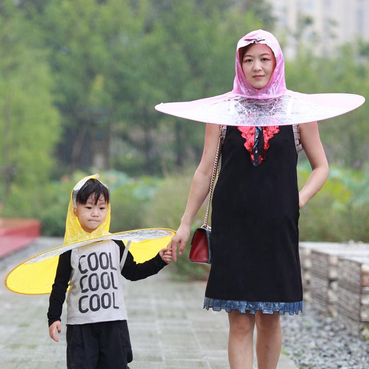 KCASA Creative Raincoat Umbrella UFO Shape Rain Hat Cap Child Adult Rain Coat Cover Transparent Umbrellas 3 Sizes for Outdoor Fishing Tour