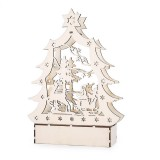 Christmas Party Home Decoration LED Lamp Glowing Wooden Tree Ornament Toys For Kids Children Gift