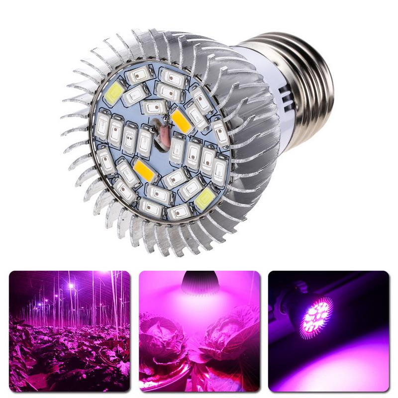 Garden plant e27 18 28 led grow light bulb full spectrum for Indoor gardening lights