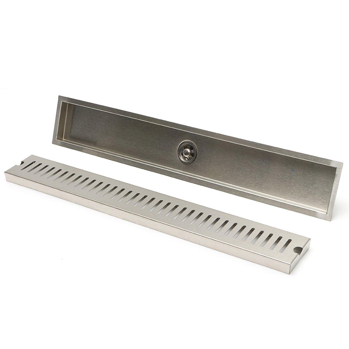 600mm Stainless Steel Drain Grate Brushed Insert Linear Bathroom Shower Floor Drain