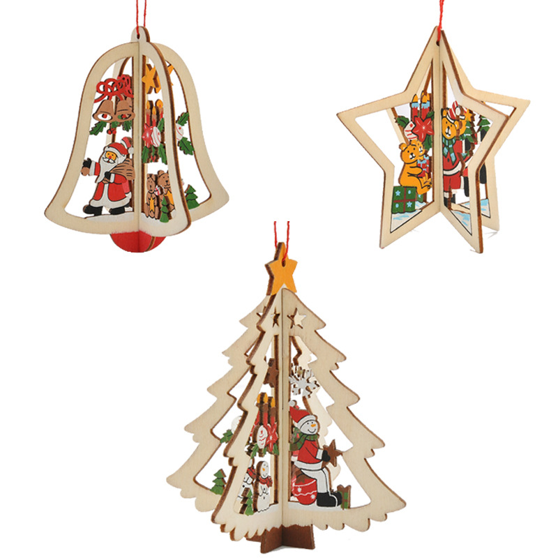 Christmas 3d wooden pendant star bell tree hang ornaments for Star home decorations