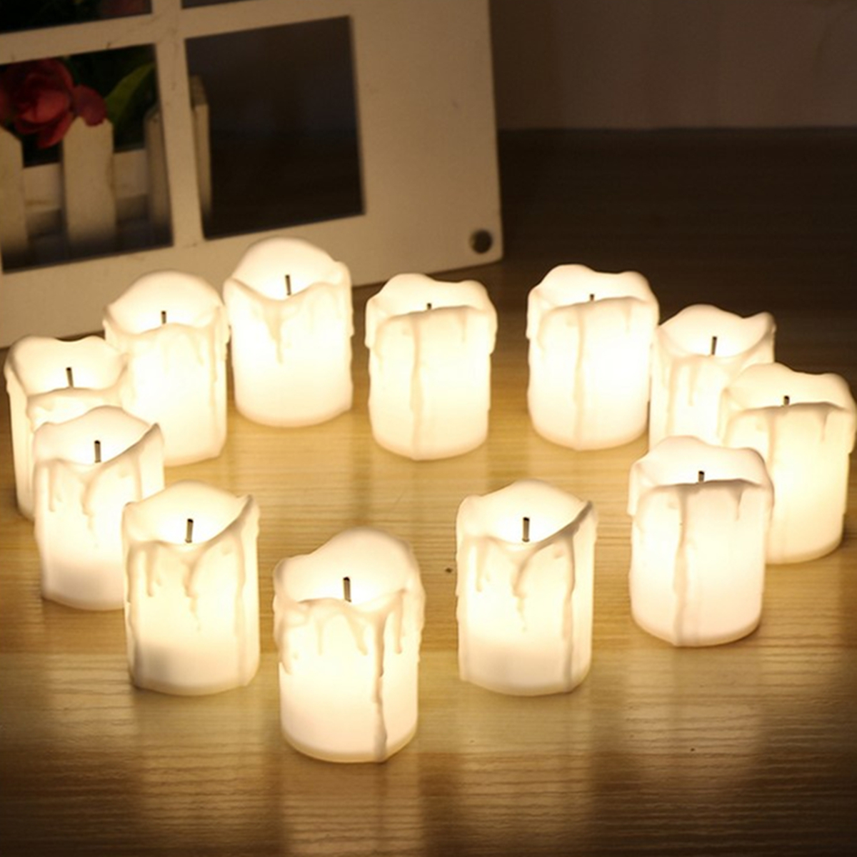 12Pcs LED Tea Light Candle Tea Light Flameless Flickering ...