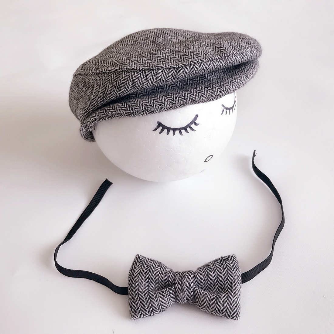 ece851fdd23 Newborn Baby Photography Props Photo Shoot Outfits Infant Cap Cabbie Hat  with Bowtie Set Black White. ALA0000BH 1.jpg  ALA0000BH.jpg ...