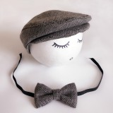 Newborn Baby Photography Props Photo Shoot Outfits Infant Cap Cabbie Hat with Bowtie Set Black Gray