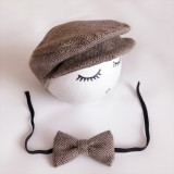 Newborn Baby Photography Props Photo Shoot Outfits Infant Cap Cabbie Hat with Bowtie Set Coffee Color