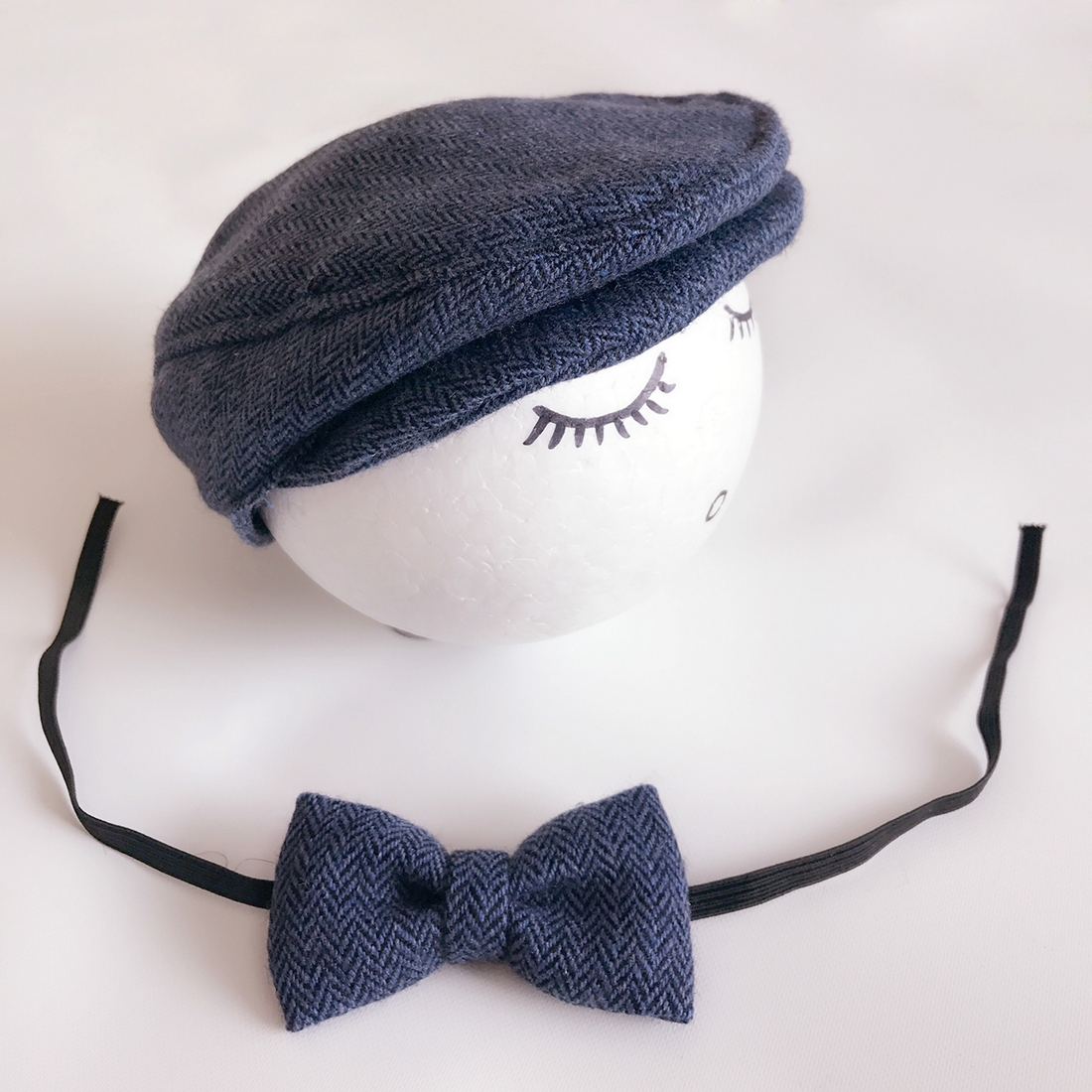 Newborn Baby Photography Props Photo Shoot Outfits Infant Cap Cabbie Hat with Bowtie Set Deep Blue. ALA0000D_1.jpg; ALA0000D.jpg ...