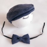 Newborn Baby Photography Props Photo Shoot Outfits Infant Cap Cabbie Hat with Bowtie Set Deep Blue