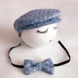 Newborn Baby Photography Props Photo Shoot Outfits Infant Cap Cabbie Hat with Star Bowtie Set Blue