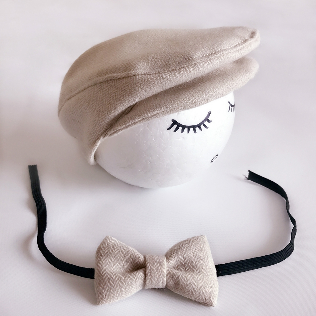 d58dfef7c4d49 Newborn Baby Photography Props Photo Shoot Outfits Infant Cap Cabbie Hat  with Bowtie Set Beige. ALA0000X_1.jpg; ALA0000X.jpg ...