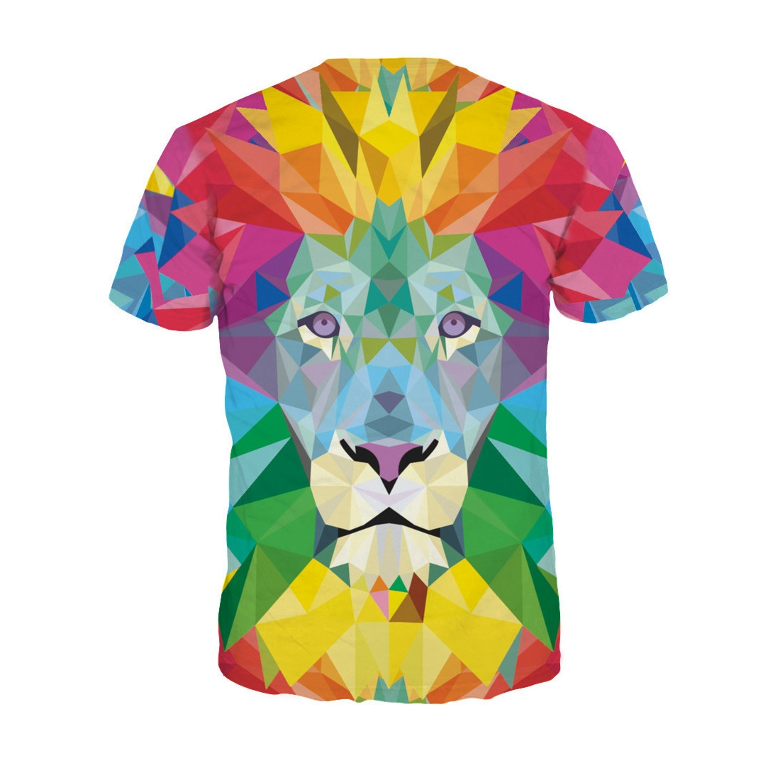 Summer 3D Colorful Lion Printing Pattern Men T-shirt O-neck Short Sleeve Tees Shirt Casual Top