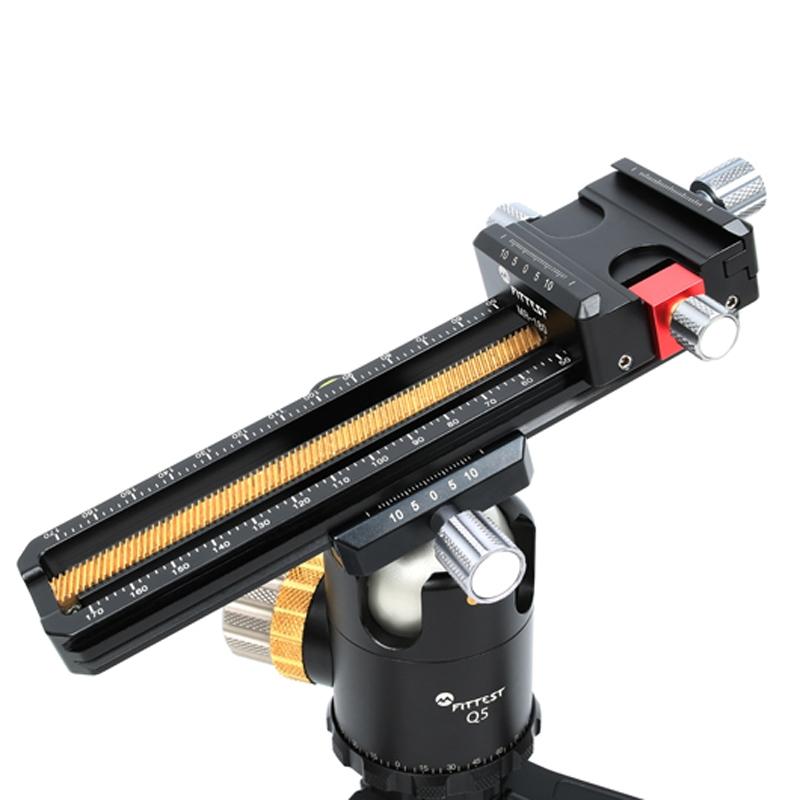 Xdashou Camera Stand 2-Way Macro Focus Rail Slider Long-Type Tripod Head Plate Black