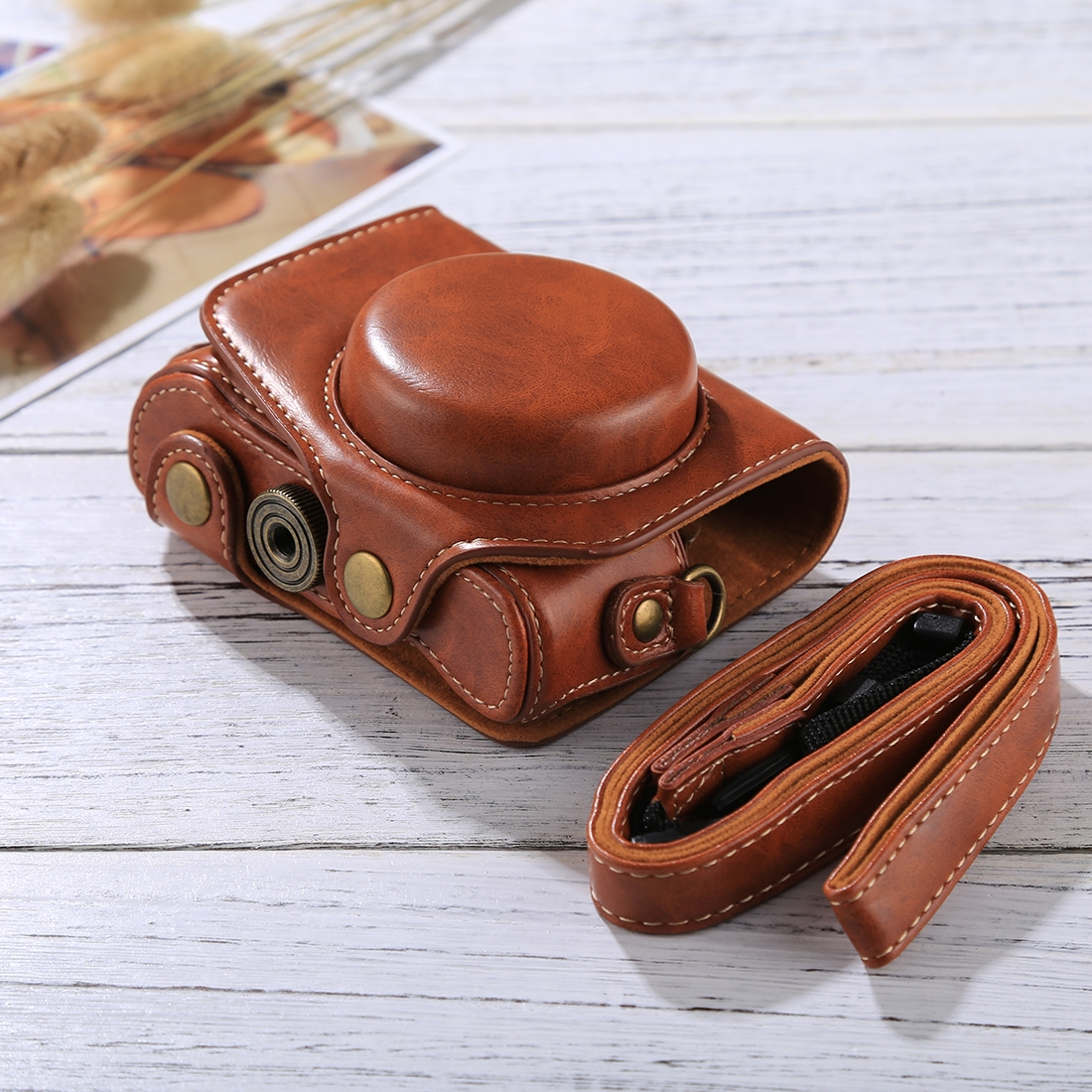 Full Body Camera PU Leather Camera Case Bag with Strap for Canon PowerShot G7 X Mark II (Brown)