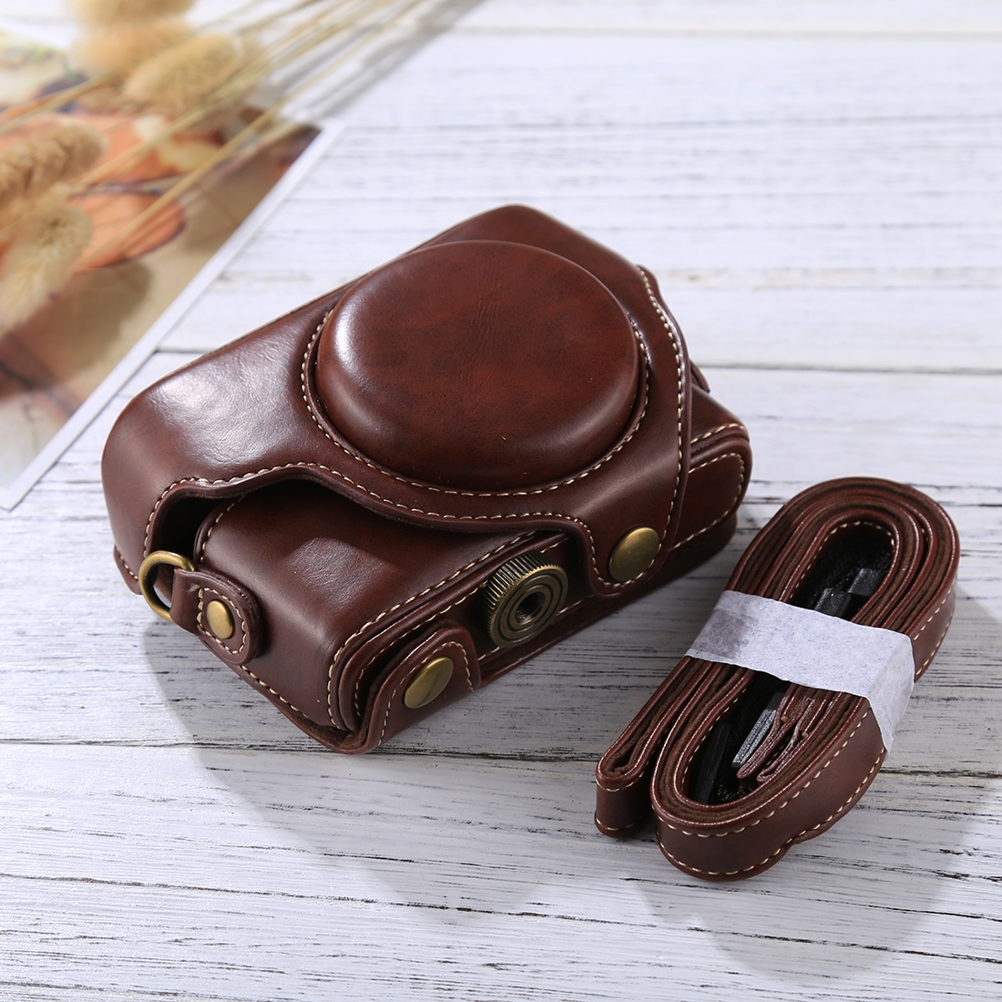M4 MEETBM ZIMO,Retro Style PU Leather Camera Case Bag with Strap for Sony RX100 M3 Black Color : Coffee M5