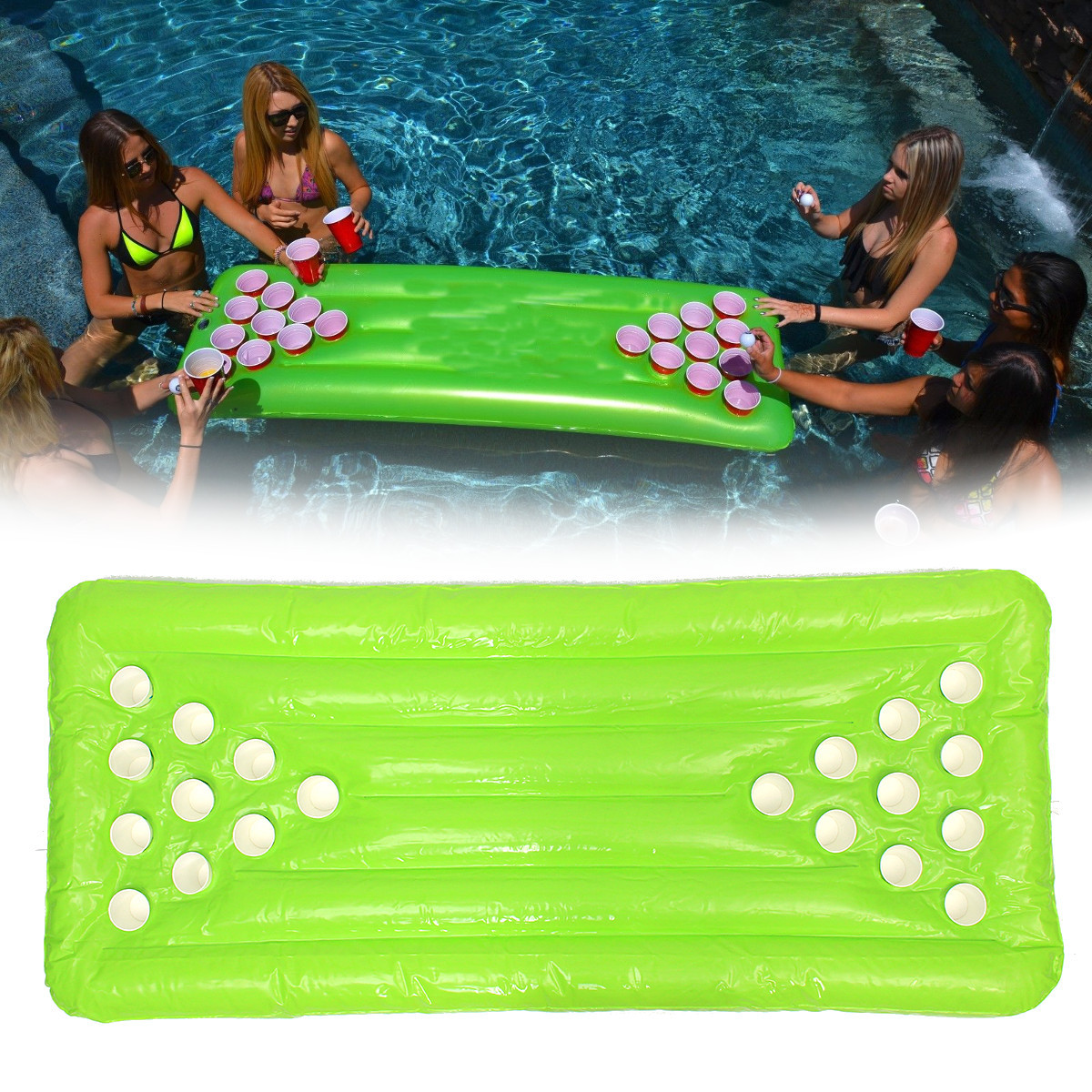 Pvc Inflatable Beer Pong Table 22 Cup Holes Water Floating For Pool Party Drinking Game Alex Nld