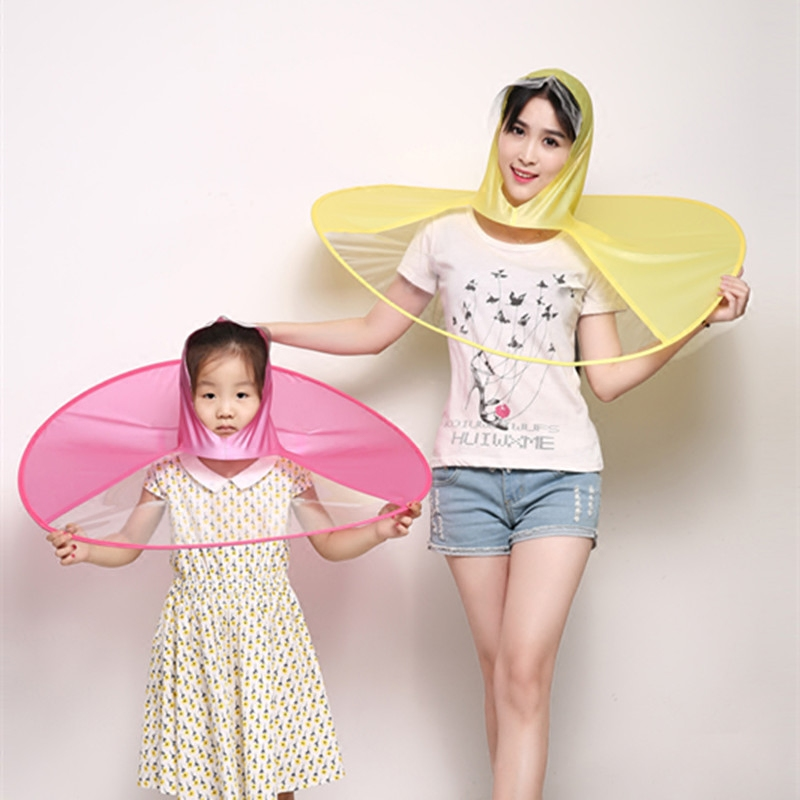 Adults Kids Unisex Outdoor Folding Portable Rain Coat Umbrella Hat Cap Creative