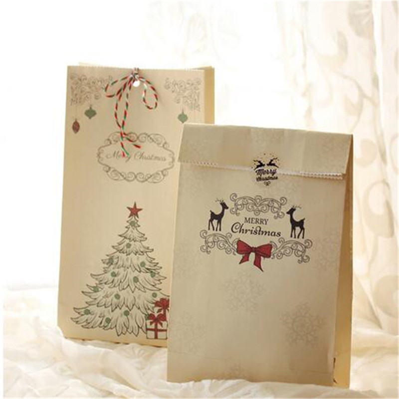 8pcs Kraft Christmas Party Home Decoration Cookies Present Luxury